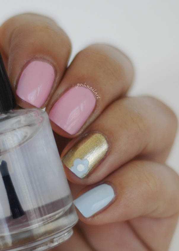 Rosa und Blau-Nagel-Kunst