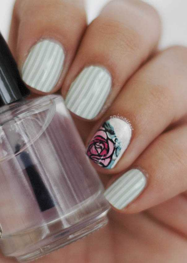 Nail Art | Streifen und Rosen