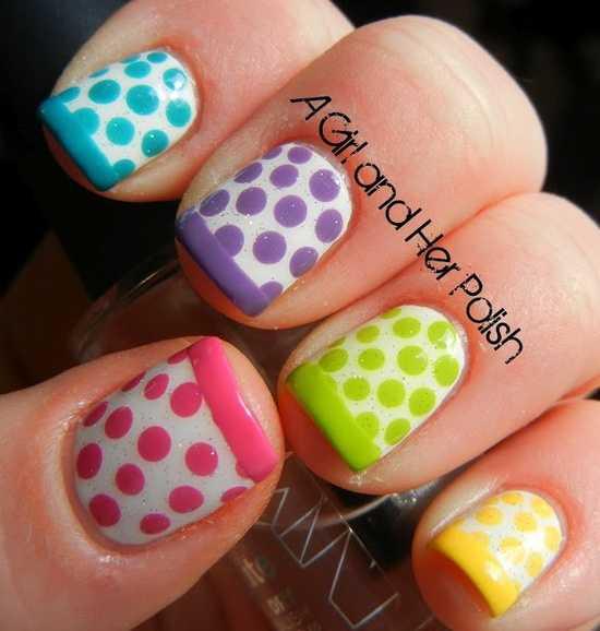 Dotty Französisch Frühling Nails
