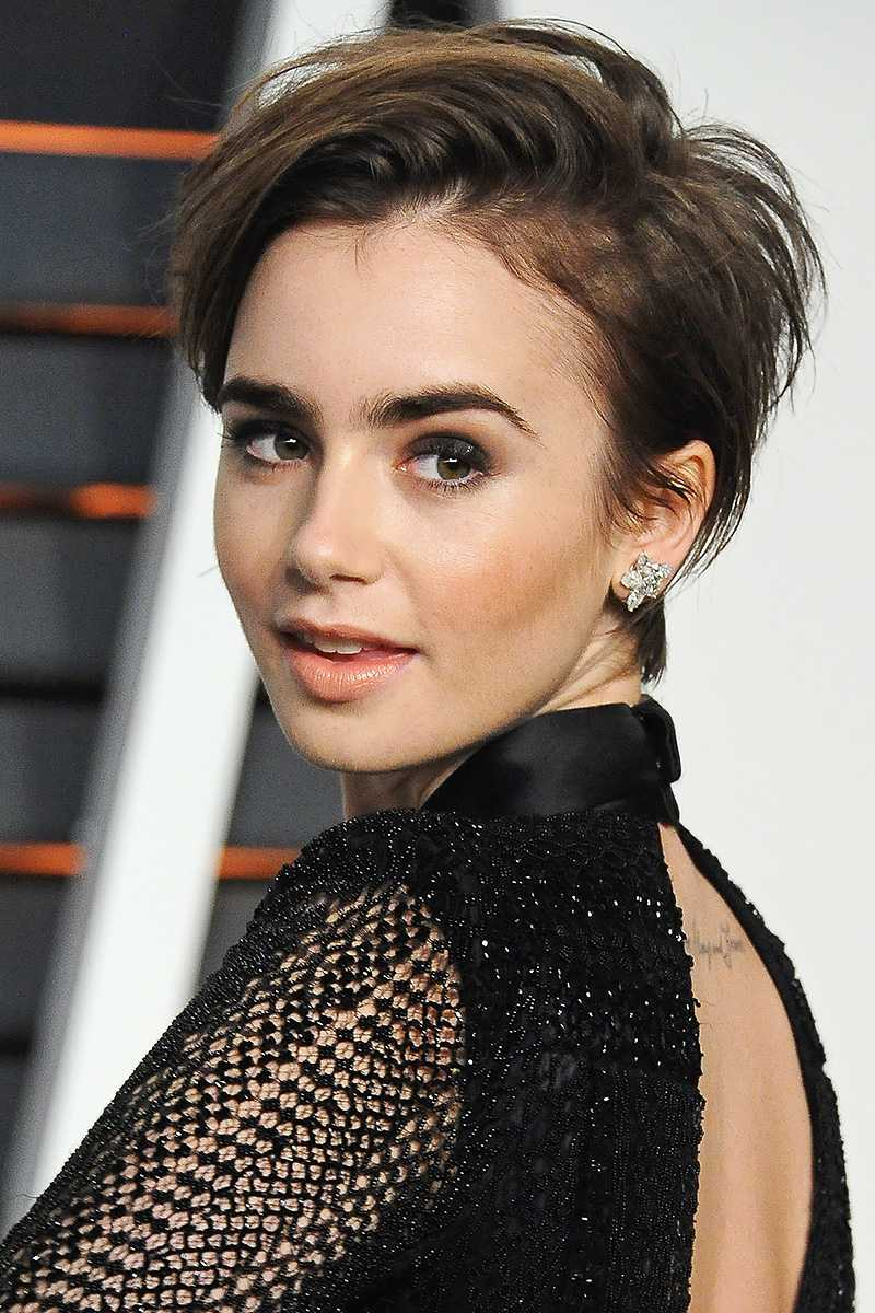 Lily Collins pixie Cut