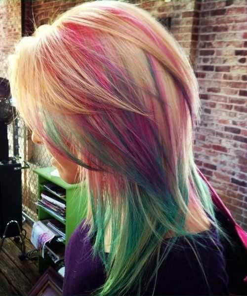 Rainbow-Highlights für Layered Haar 2016