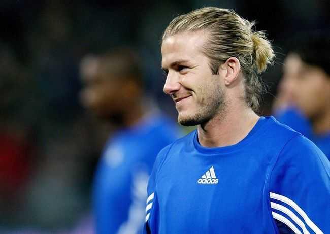 David Beckham Mann bun